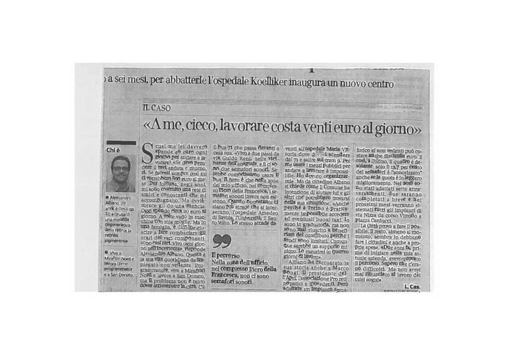 Il ritaglio dell'articolo sul Corriere della Sera